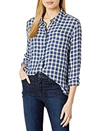 Goodthreads Camisa de Sarga Modal de Dos Bolsillos Camisa de Botones para Mujer
