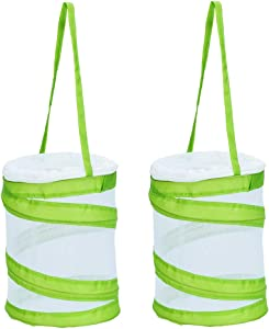 "RESTCLOUD 2-Pack Mini Butterfly Habitat, Insect Mesh Cage, Bug Terrarium Pop Up 5.5"" x 7"" Tall"