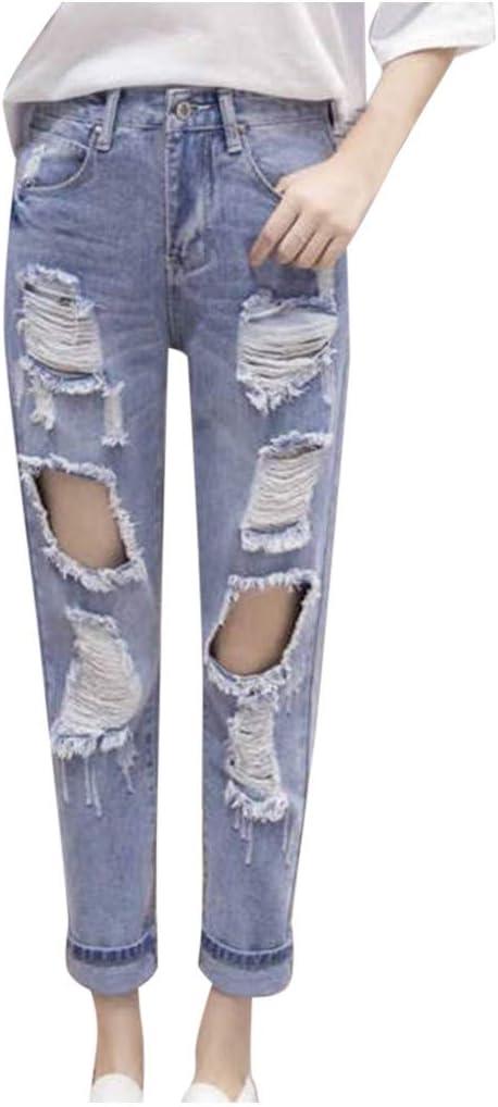 Jeans Coreanos Sueltos Nueve Pantalones Lavados Rasgados Para Mujer Eran Delgados Harem Pies Vaqueros De Tamano Grande Azul Xxxl Amazon Com Mx Ropa Zapatos Y Accesorios