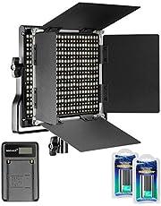 Neewer Dimmbares Bi-Color 660 LED Videolicht 3200-5600K mit U Halterung und Barndoor, 2 Li-Ionen-Akku und USB-Ladegerät für DSLR Kamera Studio Fotografie, YouTube Video-Aufnahmen