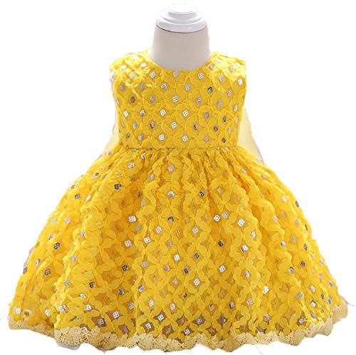Yellow Newborn Clothes Summer Baby Girls Sequins Princess Dress Girls Party Dresses Infant Ball Gown 1 Year Birthday Dresses Yellow 12M ()