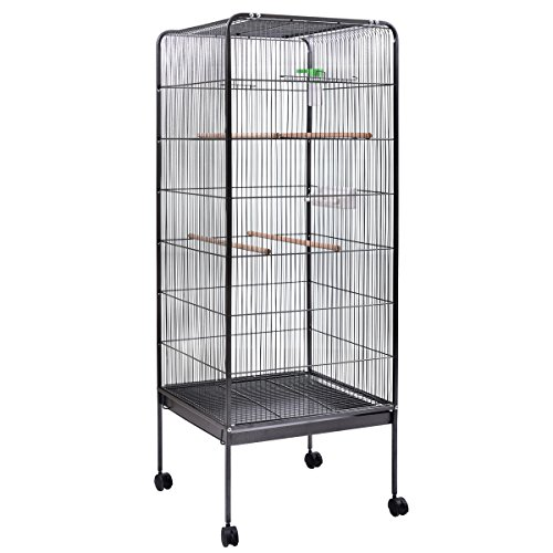 JAXPETY Large Parrot Bird Cage Play Top Pet Supplies w/Perch Stand Two Doors Iron