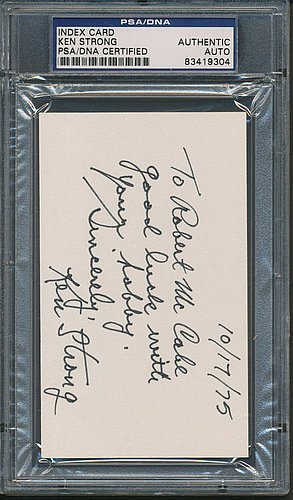 Strong Index (Ken Strong Index Card Signature - PSA/DNA Authentic Autograph - Signed NFL Memorabilia)