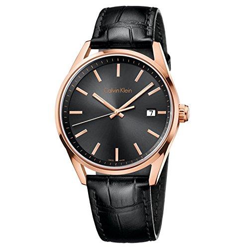 Calvin Klein K4M216C3 Rose Gold Bezel Black Leather Men's Watch