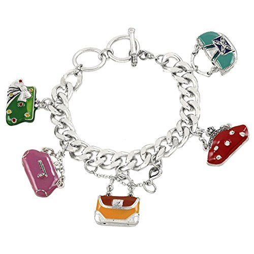 [Handbag Charm Bracelet D7 Red Orange Pink Purple Purse Silver Tone Toggle] (Enamel Handbag Charm)