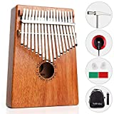 Vangoa 17 Keys Kalimba Thumb Piano African Percussion Mahogany Wood with Rubber Finger Guards, Cloth Bag, Carry Bag, Tuning Hammer, Key Stickers, Pickup