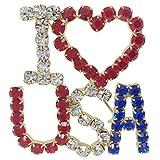 I Love USA Red White & Blue Rhinestone Large Gold Tone Pin Brooch