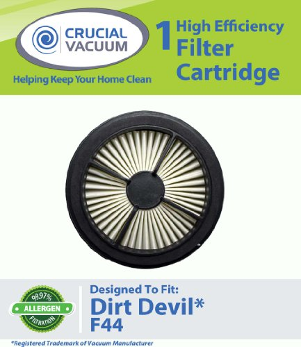 1 Dirt Devil F44 Allergen Pre-Motor Filter (With Foam) Designed To Fit Dirt Devil Quick Lite Models UD20015 UD20020 UD20025; Compare To Dirt Devil F44 (F-44) Part # 304019001 (3-04019-001); Designed and Engineered By Crucial Vacuum, Appliances for Home