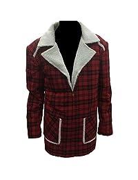 Gen1Leather Men's Deadpool Ryan Reynolds Shearling Red Jacket Coat