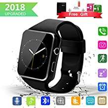 Bluetooth Smart Watch with Camera Touchscreen,Waterproof Smartwatch Unlocked Phone Watchs with SIM Card Slot, Smart Wrist Watch Compatible with Android iPhone X 8 7 6 5 Plus iOS Samsung (X6-Black)