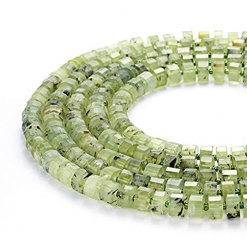 ShopForAllYou Design Making Genuine Prehnite Faceted Wheel Shape Beads 4-6x10-11mm 15.5