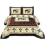 Western Peak 3 Pcs Western Texas Cross Praying Cowboy Cabin Lodge Barbed Wire Luxury Quilt Bedspread Comforter Brown Beige (King)