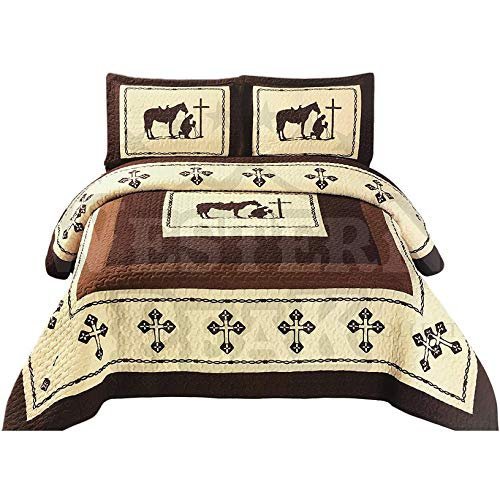 Western Peak 3 Pc Luxury Western Texas Cross Praying Cowboy Horse Cabin Lodge Barbed Wire Luxury Quilt Bedspread Oversize Comforter (Twin, Beige Brown)
