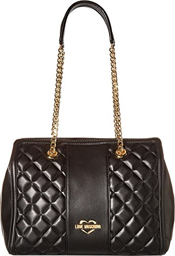 LOVE Moschino Women's Quilted Shoulder Bag Chain Strap Black/Gold Chain One Size (Leather Link Shoulder Chain Black Bag)