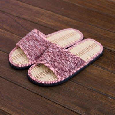 LaxBa Hommes Femmes tricoté coton Anti-Slip Chambre Chaussons Violet, 36-37