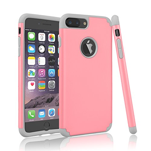 iPhone 7 Plus Case, Njjex [Npure Series] Ultra Slim Shock Absorbing Hybrid Impact Dual Layer Rubber Silicone Plastic Shell Bumper Armor Rugged Hard Case Cover Fot Apple iPhone 7 Plus (Pink Hard Rubber)