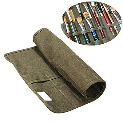 Koolemon Canvas Artist Brush Holder Draw Pen Watercolor Roll Up Brush Bag Case Oil Brush Storage Bag