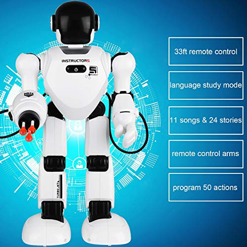 Hi-Tech Wireless Remote Control Robot Interactive RC Robot Toy Sings, Dances, Lifts Hands, Launches Missiles, Teaches English, Tell Scientific Knowledge and Stories