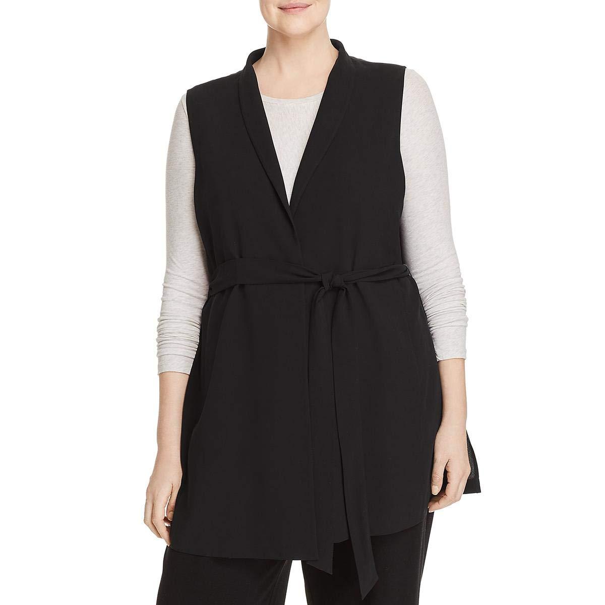 Black EileenFisher Womens Plus Silk Drapey Vest