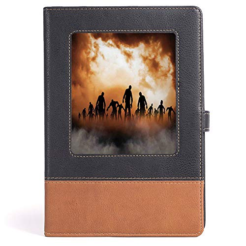 Hardcover Executive Notebook - Halloween Decorations - College Ruled Notebook/Composition/Journals/Dairy/Office Note Books - Zombies Dead Men Body in the Doom Mist at Night Sky Haunted Decor - 100 she