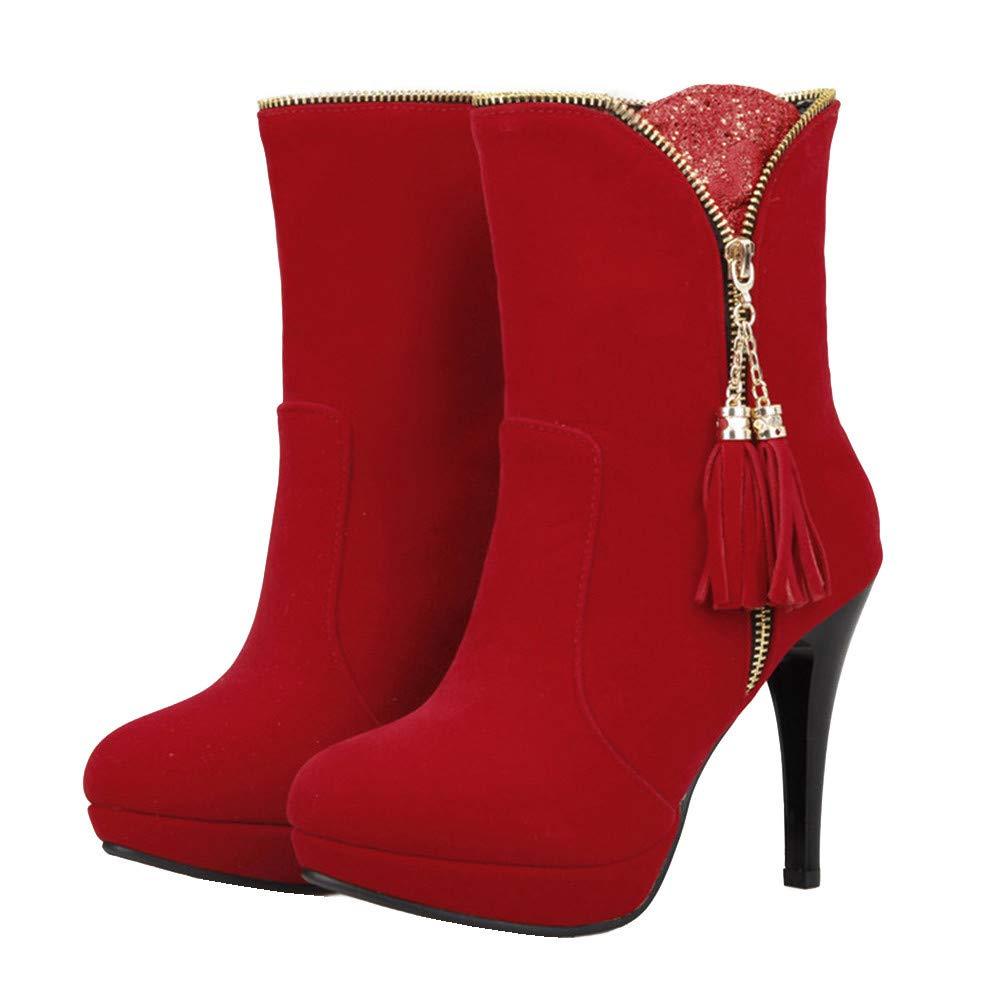 Shirloy Damen Stiefel Herbst Damen Schuhe hochhackige Plattform Stiletto Damen Martin Stiefel Mode Stiefel Damen Lederschuhe