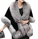 ONTBYB Womens Faux Fur Coat Wedding Cloak Cape Shawl For Evening Party