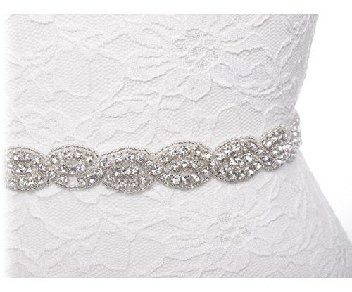 Redowa Thin Rhinestone Beaded Wedding Dress Bridal Sash Belt White Beaded Bridal Gowns