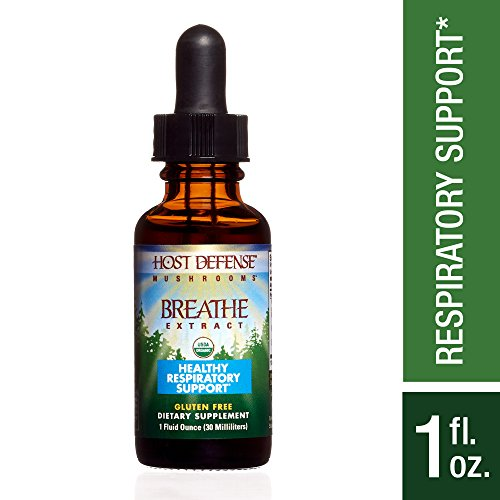 Host Defense - Breathe Multi Mushroom Extract, Support for Energy, Easy Respiration, and Immunity in the Lungs, Non-GMO, Vegan, Organic, 30 Servings (1 Ounce)