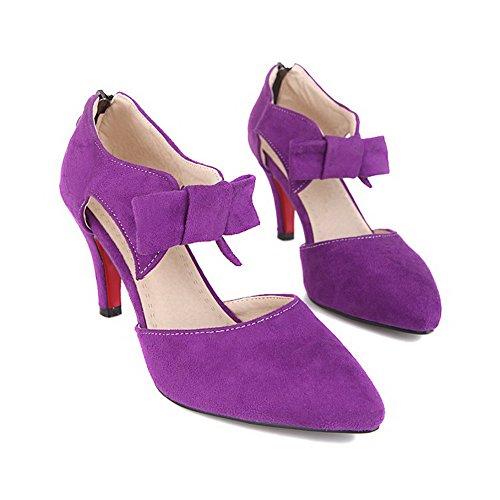VogueZone009 Damen PU Leder Rein Ziehen auf Spitz Zehe Stiletto Pumps Schuhe Lila