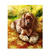 LanMent DIY Oil Painting Long-haired Dog Paint by