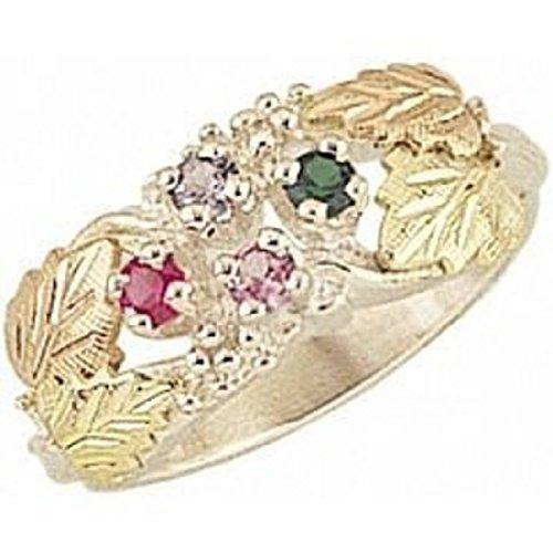 Black Hills Gold Mothers Ring (Black Hills Gold Silver Mother's Ring - 3 stones - MR902)