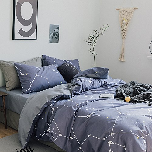 f4b3d8ffd646 VClife Cotton Bedding Sets Chic Constellation Duvet Cover Set Blue Grey  Stars Printed Bedding Duvet Cover Sets Universe Galaxy ...