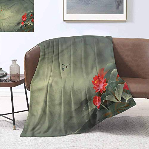 Homrkey Printing Blanket Dragonfly Traditional Japanese Lightweight Thermal Blankets W60 xL91 Traveling,Hiking,Camping,Full Queen,TV,Cabin