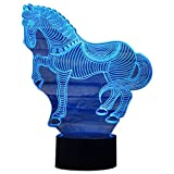 TOOGOO(R) Animals War Horse 3D Night Light Touch Table Desk Lamps, 7 Color Changing Lights Acrylic