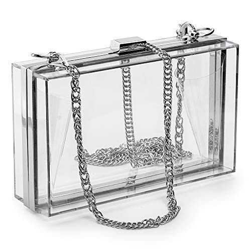 Women Acrylic Clear Clutch Transparent Crossbody Purse Evening Bag Sport Events Stadium Approved Chain Strap Silver