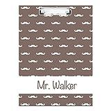 monogrammed clip board - Brown Mustache Monogrammed Double Sided Hardboard Clipboard