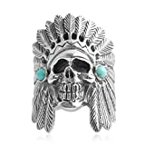 Adisaer Biker Rings Silver Ring for Men Indian Tribal Chief Skull Ring Size 7.5 Vintage Punk Jewelry