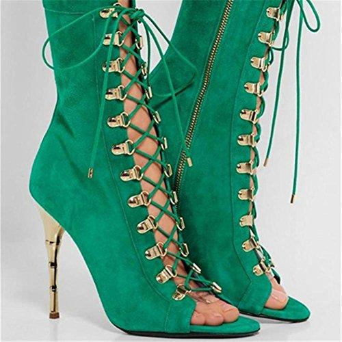 Bottes Printemps Club Mariage fraîches Femmes Poisson Soirée Sandales de Bouche Été EUR40UK7 Chaussures Haut Talon Daim NVXIE GREEN BwZq1XPB