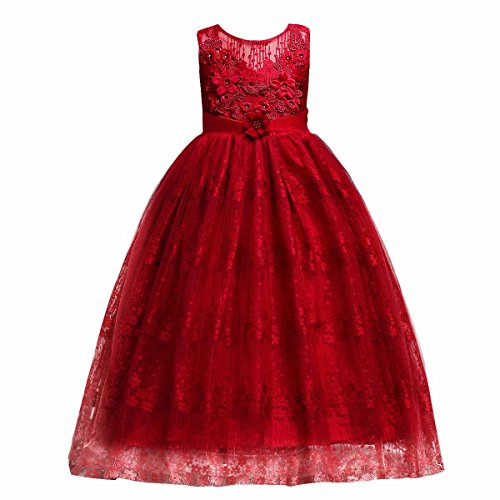 FYMNSI Flower Girls Sleeveless Floral Lace Tulle Princess Dress BridesmaidWedding Party Pageant Birthday Maxi Gown Red 5-6