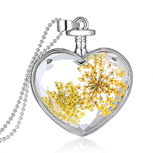 New Arrival Golden Daisy Dry Flower Silver Mini Beads Chain Necklace for Women Xmas Christmas Gift