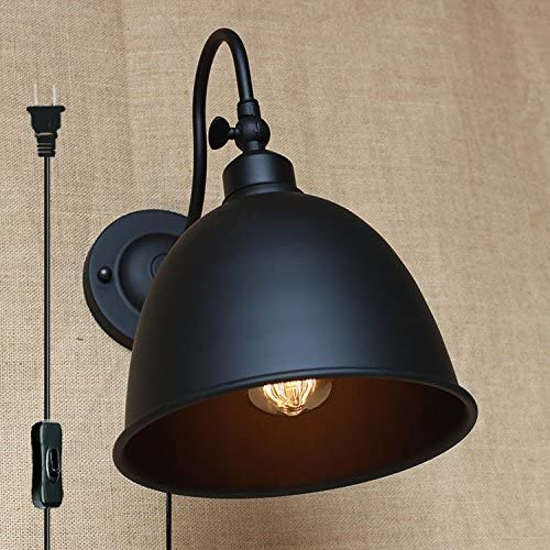 Kiven Classic Curved Arm Wall Lamp Restaurant Creative Black Bowl-Shaped Lamp Industrial Retro Wall Lamp On/Off Plug-in Switch Cord Bulbs Included