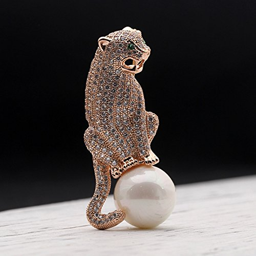 Europe domineering personality leopard brooch pin retro imitation pearl corsage brooch pin men and women same ()