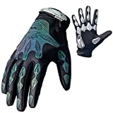 Mekarsoo Skeleton Pattern Outdoor MTB Bicycling Gloves Ultra-breathable Full Finger Gloves Anti-slip Warm Gloves with Reflective Strips (Grey, M)