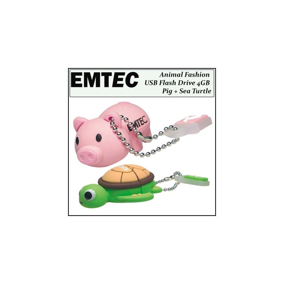 Emtec Animal Fashion USB Flash Drive 4GB Pig   EKMMD4GM319 + Emtec Animal USB Flash Drive 4GB Sea Turtle Computers & Accessories