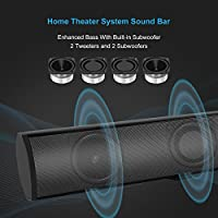 "Soundbar, Vintar 2.1 Channel Bluetooth Sound Bars for TV, 37"" Wired and Wireless Bluetooth Home Theater Speakers, (4 Full-Range Drivers, 60W, 3D Surround Sound System, Remote Control, Wall Mountable) from VINTAR"