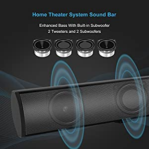 """Soundbar, Vintar 2.1 Channel Bluetooth Sound Bars for TV, 37"""" Wired and Wireless Bluetooth Home Theater Speakers, (4 Full-Range Drivers, 60W, 3D Surround Sound System, Remote Control, Wall Mountable) from VINTAR"""