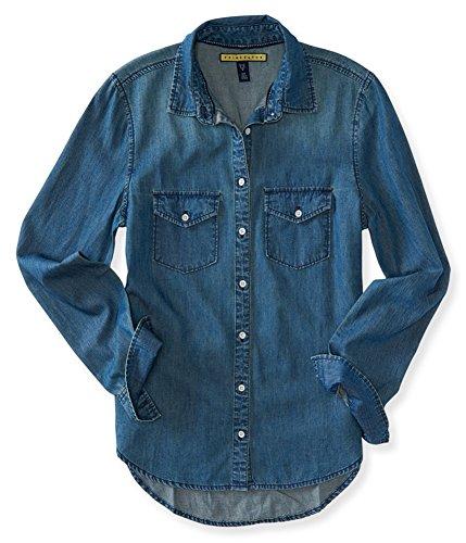 AEROPOSTALE Womens Denim Button Up Shirt, Blue, Small (Aeropostale Clothing)