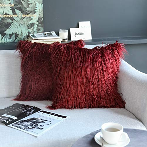 Kevin Textile Pack of 2, Christmas Decor Home Deluxe Soft Plush Merino Style Red Faux Fur Fuzzy Throw Pillow Cover Cushion Case for Bedroom Sofa Chair,18x18 Inch, Red Pear -