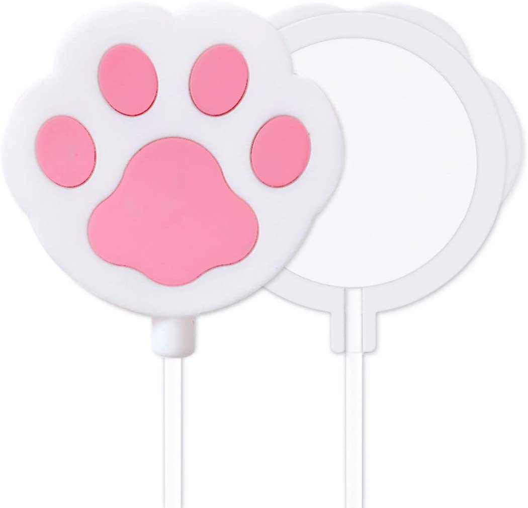 Guppy Cute Cat Paw Protective Silicone Sleeve Compatible with MagSafe Charger Soft Rubber Skin Shockproof Protection Cover Case Designed for Apple MagSafe Charger White