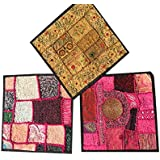 3 Pcs Ethnic Cushion Cover Patchwork Embroidered Cotton Square Toss Pillow Cases 16x16